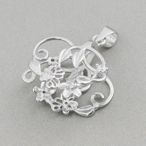 Orecchini A Perno Di Argento 925 Con Perle Naturali Oro Rosa 7x22mm