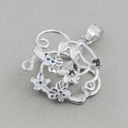 Orecchini A Perno Di Argento 925 Con Perle Naturali Rodiato 7x22mm