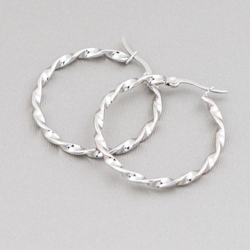 Pendenti Di Argento 925 Zirconato Con Perle Di Maiorca 14x30mm