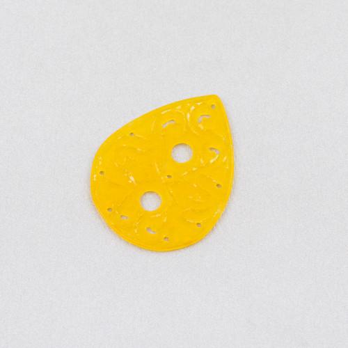 Ciondolo Pendente Di Argento 925 Con Zirconi E Cabochon Di Pietre Idrotermale 18x36mm Rodiato Viola