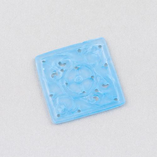 Ciondolo Pendente Di Argento 925 Con Zirconi E Idrotermali Blu E Viola 28x40mm