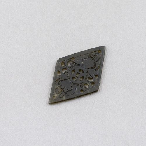 Ciondolo Pendente Di Argento 925 Croce Brunita Con Zirconi Ruby 25x45mm