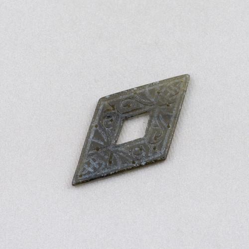 Ciondolo Pendente Di Argento 925 Croce Con Teschio Centrale 17x28mm