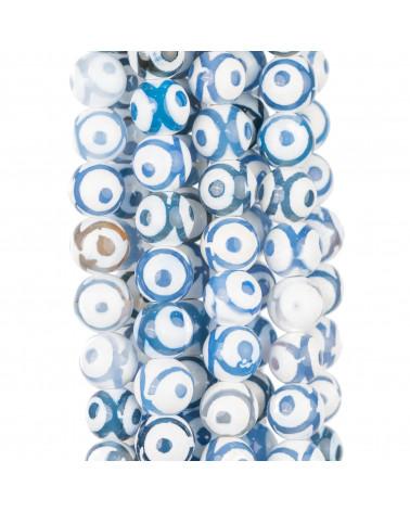 Cabochon Tondo Sfaccettato 30mm 1pz - Pietra Del Sole Blu Synt