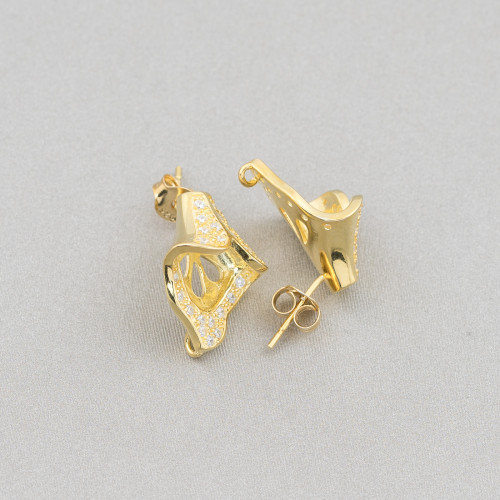 Anello Di Argento 925 Con Zirconi Blu E Occhio Di Gatto, Galvanica Rodio 26x28mm Misura Regolabile