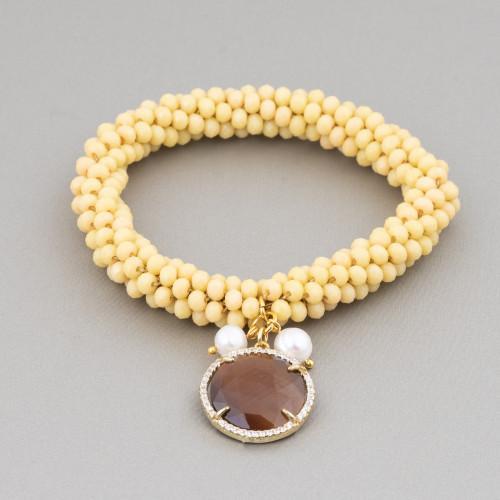 Componente Intramezzo Di Perle Di Maiorca A Goccia Con Zirconi Multicolor Pavè Cactus 18x25mm 6pz