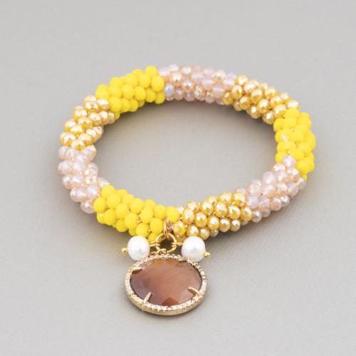 Componente Intramezzo Di Perle Di Maiorca A Goccia Con Zirconi Multicolor Pavè Cuore 18x25mm 6pz