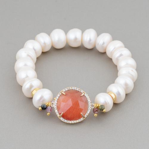 Componente Intramezzo Di Perle Di Maiorca Tondo Con Zirconi Multicolor Pavè Cuore 20mm 6pz