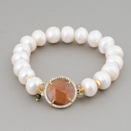 Componente Intramezzo Di Perle Di Maiorca Tondo Con Zirconi Multicolor Pavè Fiocco Di Neve 20mm 6pz