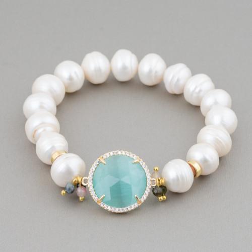 Componente Intramezzo Di Perle Di Maiorca Tondo Con Zirconi Multicolor Pavè Stella 20mm 6pz