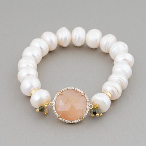 Componente Intramezzo Di Perle Di Maiorca Tondo Con Zirconi Multicolor Pavè Stella Marina 20mm 6pz