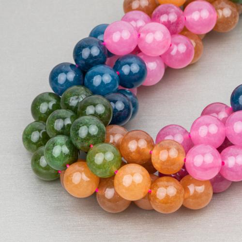 Perle di Fiume Tondo A Gradazione 10-14mm Lilla e Rosa