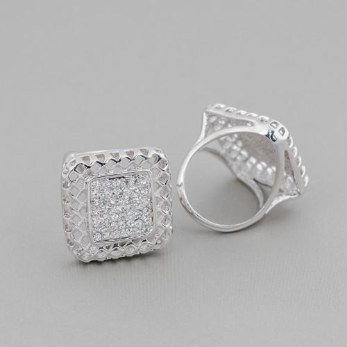 Orecchini A Perno Di Argento 925 A Perno Con Zirconi E Perle Di Fiume 20mm