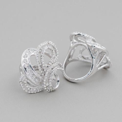 Orecchini A Perno Di Argento 925 A Perno Con Zirconi E Perle Di Fiume Cuore 20mm