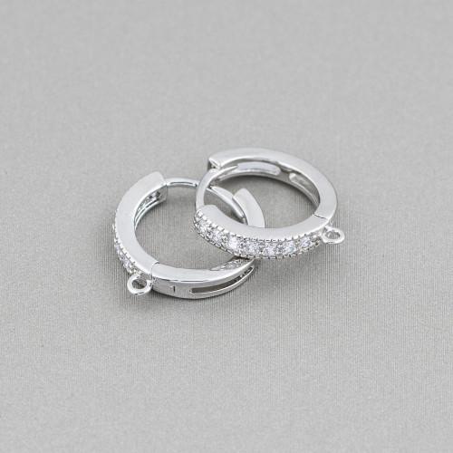 Orecchini Perno Chiuso Di Argento 925 Con Perle Di Maiorca e Zirconi 17x43mm