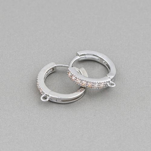 Orecchini Perno Di Argento 925 Con Perle Di Maiorca e Zirconi 13x27mm Blu