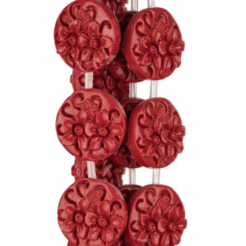 Componente Di Ottone Con Occhio Di Gatto Incastonati 20pz Con 1 Anellino 9x10mm Rosso