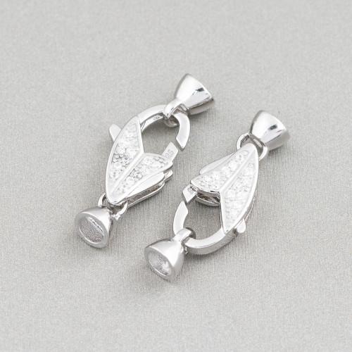 Orecchini Di Argento 925 A Monachella Fiore Con Onice Sfaccettato E Goccie Di Agata Bianca 13x54mm