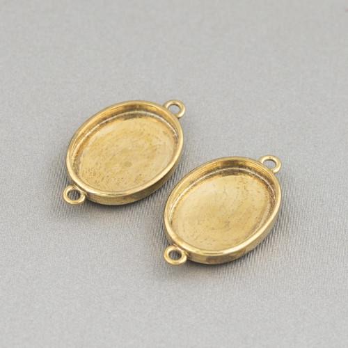 Base Per Orecchini Di Argento 925 Con Zirconi Perno Cerchi Doppi 9,5x15,5mm 4 Paia Dorato