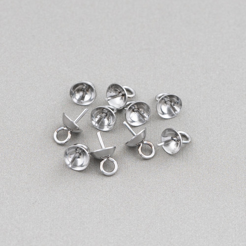 Base Per Orecchini Di Argento 925 Con Zirconi Perno Cerchi Doppi 9,5x15,5mm 4 Paia Rodiato