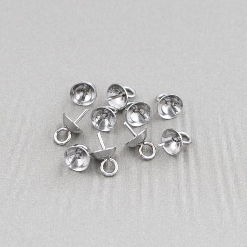 Base Per Orecchini Di Argento 925 Con Zirconi Perno Goccia Con Rondelle 6x15mm 4 Paia Rodiato