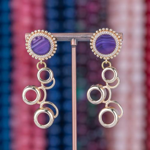 Collana Di Pietre Dure Naturali E Cristalli Rondelle A 5 Fili 57cm Giallo