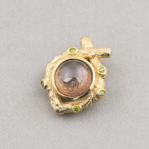 Chiusura Di Argento 925 Gancio A Ciambella Apertura Invisibile 16mm 6pz Dorato