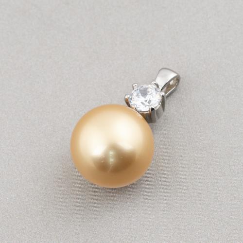 Perle di Fiume Bottoni Cabochon1 Foro 11,0-11,5mm 24 Paia Bianco