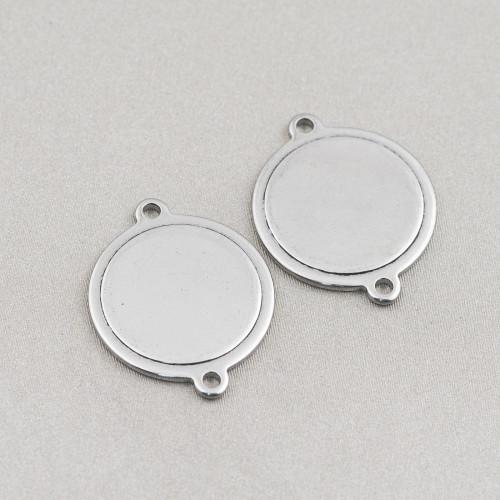 Base Per Orecchini Di Argento 925 Cerchio Liscio 26mm 8 Paia Rodiato