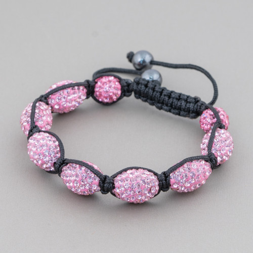 Connettore Di Madreperla Nera Cuore Piatto 21mm Bordato Con Strass Multicolor 10pz
