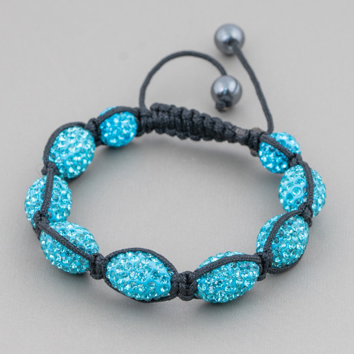 Connettore Di Perle Di Fiume Tondo Piatto 25mm Bordato Con Strass Multicolor 10pz