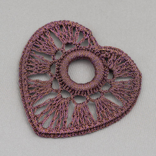 Orecchini A Monachella Di Argento 925 A Fiore Con Madreperla Intrecciata 35x52mm