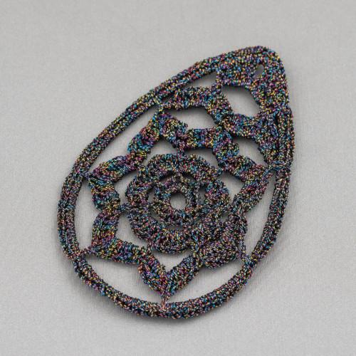 Orecchini A Monachella Di Argento 925 Con Perle Barocche Piatte E Perline A Grappolo Con Occhio Di Gatto 22x60mm MOD2