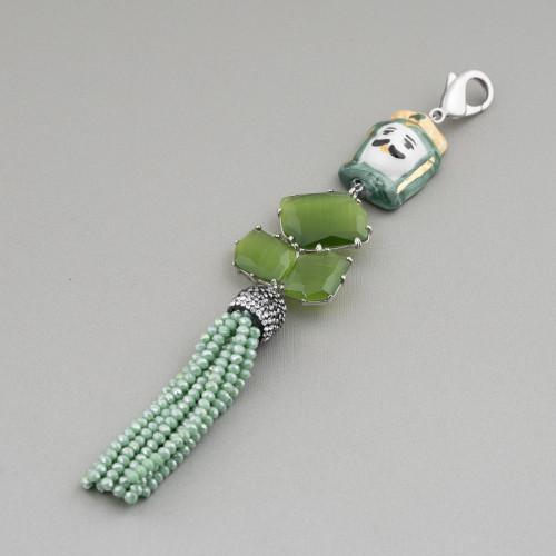 Componente Pendente Di Ottone Con Madreperla Mosaico Con Perline E Zirconi Ovale 28x42mm