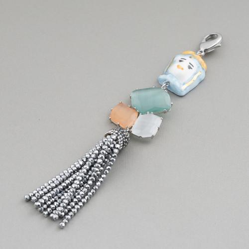 Componente Pendente Di Ottone Con Madreperla Mosaico Con Perline E Zirconi Ovale 28x42mm Blu