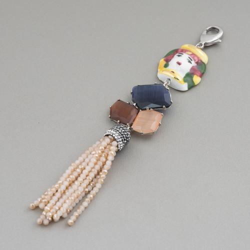 Componente Pendente Di Ottone Con Madreperla Mosaico Con Perline E Zirconi Tondo 32mm