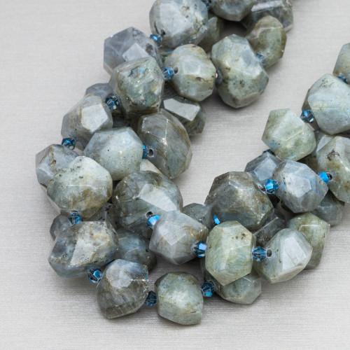 Labradorite Marrone Rettangolo Piatto Sfaccettato 25x35mm
