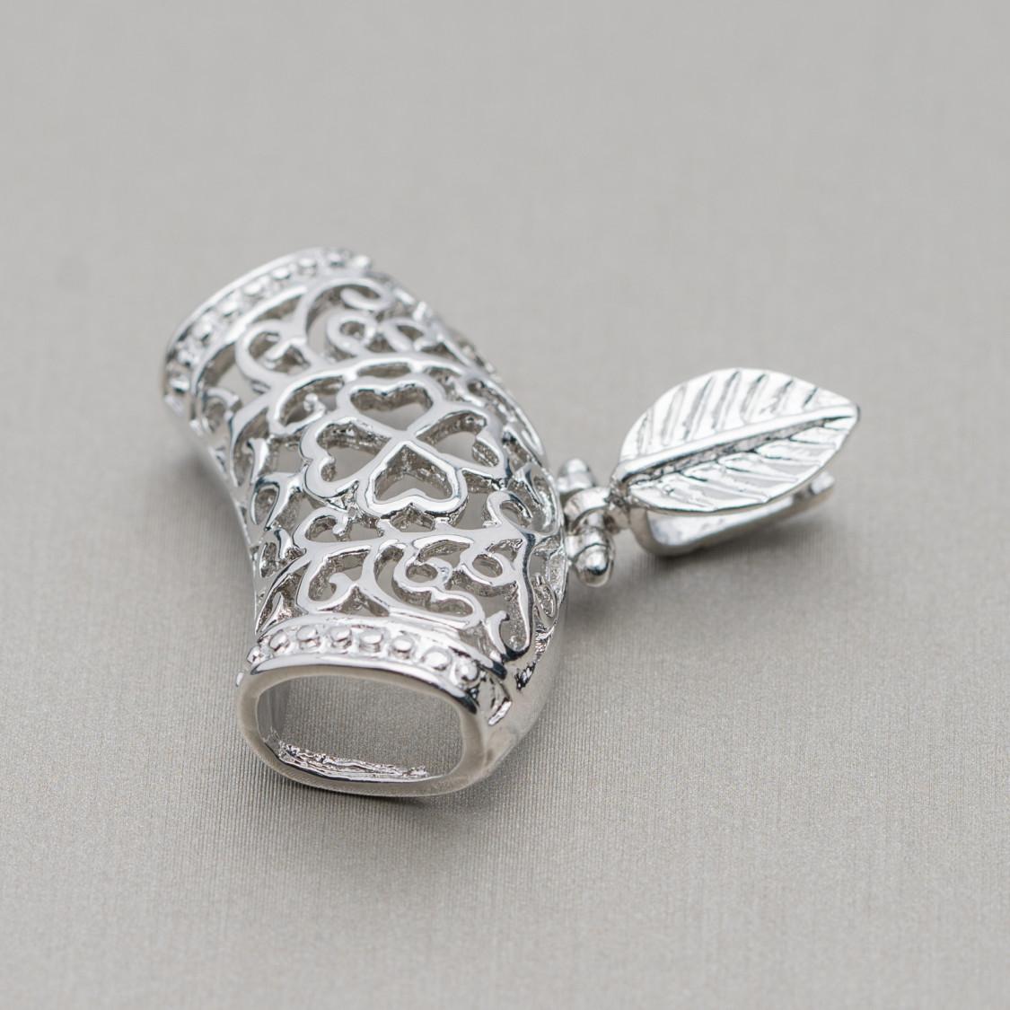 Ciondolo di Argento 925 E Onice - Goccia Piatta Sfaccettata 30x40mm