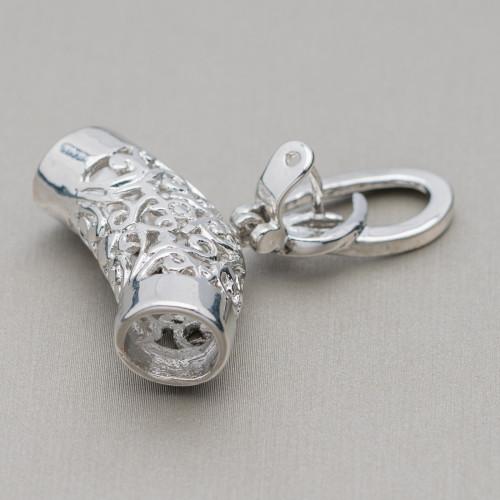 Ciondolo di Argento 925 E Pietre Dure Goccia Piatta Sfaccettata 20x30mm - Agata Indiana