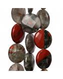 Ciondolo di Argento 925 E Pietre Dure Quadrato Piatto Sfaccettato 30mm - Avventurina Rossa (Eosite) 2