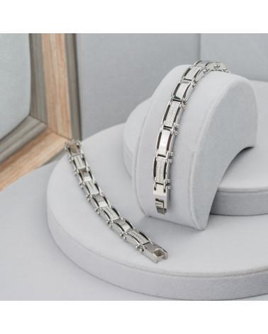 Ciondolo di Argento 925 E Pietre Dure Tondo Piatto Sfaccettato 40mm - Agata Indiana