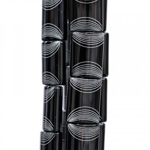 Componente Di Resina Con Foro Dietro Rosa 35mm 6pz Nero