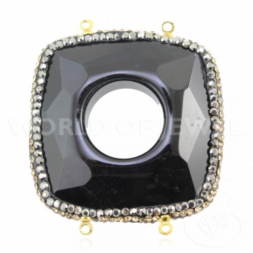 Orecchini Di Argento 925 Rodiato Cerchio Rigido Rigato 26mm - 1 Paio