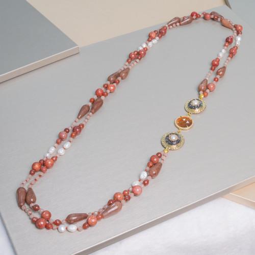 Perle di Fiume 1 Foro Tonde (AAAA) 13,5-14,0mm 6 Paia Rosa