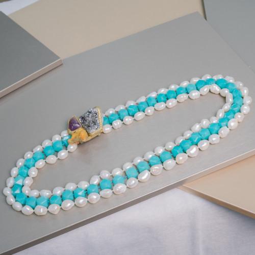 Perle Di Fiume A Mezzaluna Con Strass Marcasite 15x24mm 6pz