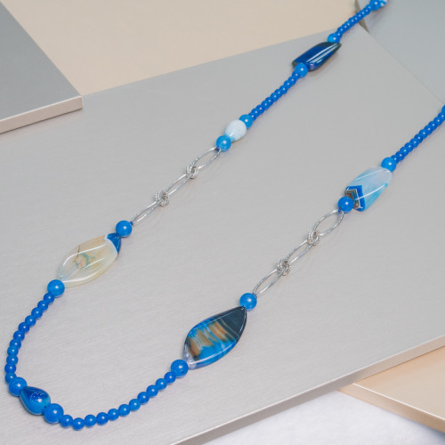 Perline a Filo Di Marcasite Strass Con Perle Di Fiume Piatte Barocche 15x23mm 8pz